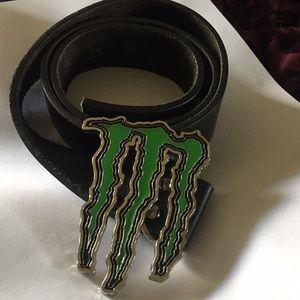 """Monster energy drink green enamel Logo belt, 37"""""""